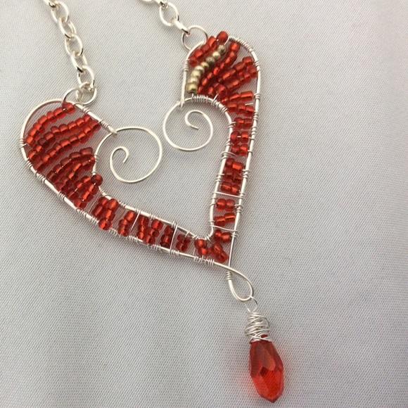 Becky Barnes Designs Jewelry   Beaded Wire Heart Necklace   Poshmark
